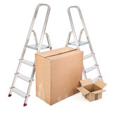 Ladders and two cardboard boxes Stock Image
