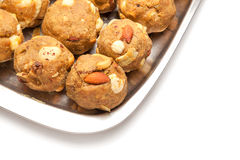 Laddoo sec doux fait maison de fruits d'Inde Photos stock