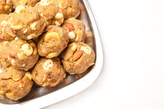 Laddoo seco dulce hecho en casa de las frutas de la India Fotos de archivo libres de regalías