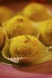 Laddoo. Tight close up of an indian sweet - Boondi ladu royalty free stock image