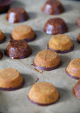 Laddu indian chickpea flour cookies with carob and chocolate Royalty Free Stock Photography