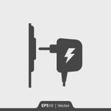 Ladegerät Wechselstrom-Adapterikone für Netz und Mobile Stockfotografie