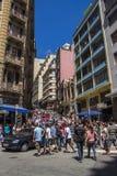 Ladeira Oporto Geral (región) de la calle de 25 de Março - Sao Paulo - el Brasil Foto de archivo libre de regalías