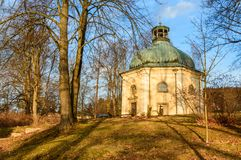 Ladek Zdroj, Chapel of St. George in the park. Poland, Ladek Zdroj, Chapel of St. George in the park europe sudety georges trees grass branches building monument royalty free stock photography