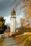 Ladek Zdroj, a tower in the park near the chapel of St. George. Poland, Ladek Zdroj, a tower in the park near the chapel of St. George europe sudety path trees stock photography