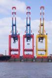 Ladekräne am Tiefseeseehafen von bremerhaven Stockfoto