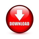 Laden Sie Text mit Pfeil unterzeichnen unten auf rotem Knopf herunter Lizenzfreie Stockfotografie