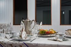 Laden table set up detail Royalty Free Stock Photo