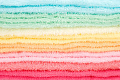 Laden towels. Background and texture of multi color laden towels Royalty Free Stock Image