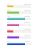 Ladende barpictogrammen Percentage die, het uploaden, Vector downloaden Royalty-vrije Stock Foto