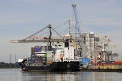 Ladende het leegmaken faciliteit voor de Haven van containerschepen van Southampton het UK Royalty-vrije Stock Afbeelding
