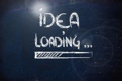 Ladende Idee, Fortschrittsstange auf Tafel Lizenzfreie Stockfotos
