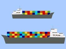 Ladened volledig containerschepen vector illustratie