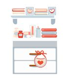 Ladenkast met schoonheidsmiddelen en boeken op planken royalty-vrije illustratie