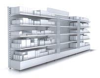 Ladenregale mit leerer Abteilung für Ihre Waren stock abbildung