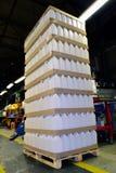 Ladeplatte mit Plastikbehältern Stockfotografie