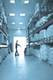 Lader die in een pakhuis werkt. Onduidelijk beeld Royalty-vrije Stock Afbeelding