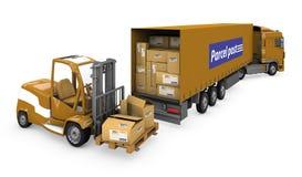 Lader en een vrachtwagen die een pakket draagt Royalty-vrije Stock Foto's