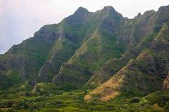 Ladera escarpada de la cordillera de Koolau, Oahu, Hawaii foto de archivo
