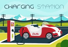 Ladestation des elektrischen Autos in der Feier Florida Vereinigte Staaten USA stock abbildung