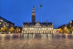 Ladeuze fyrkant av Leuven i aftonen arkivbild