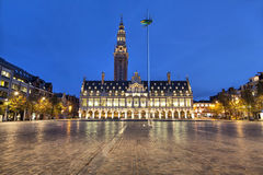 Ladeuze square of Leuven in the evening. Ladeuze square with building of the university library of Leuven in the evening Stock Photography