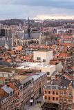 Bird`s-eye view of the old town of Leuven, Flanders, Belgium. stock photos