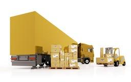 Ladevorrichtung lädt die Pakete im LKW. Lizenzfreies Stockfoto