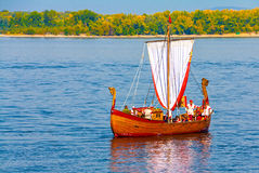 Ladia. Old wooden boat prepated for presentation during the City Day of Samara. Russia Stock Image