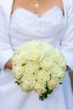 Ladie avec un groupe de fleurs Photo stock