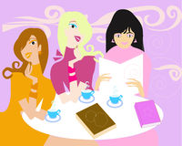 Ladies. Three ladies drinking coffee and read book in the library Stock Photo