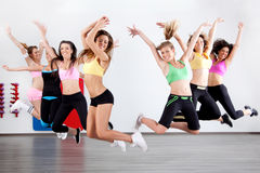 Ladies in aerobic class. Group of ladies working out in aerobic class Royalty Free Stock Photo