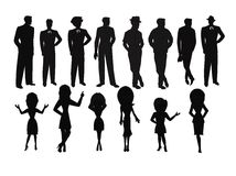 Ladies And Men In Silhouette Set Stock Photography