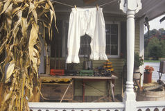 Ladies antique bloomers drying on a porch, New England Stock Photography