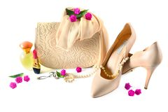 Ladies bag, shoes, jewelry, cosmetics and perfumes isolated on w Stock Image