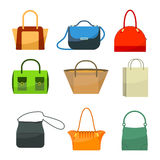 Ladies bags icons flat design isolated on white. Colorful accessories Royalty Free Stock Image