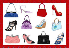 Ladies bags and shoes stock illustration