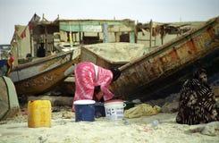 Ladies on the beach, Nouakchott, Mauritania Royalty Free Stock Images