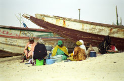 Ladies on the beach, Nouakchott, Mauritania Royalty Free Stock Photo