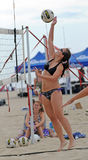 Ladies beach volleyball spike Royalty Free Stock Photos