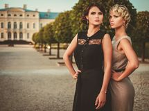 Ladies in a beautiful alley Royalty Free Stock Images