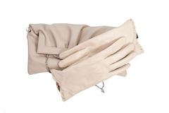 Ladies beige gloves. stock photos