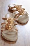 Ladies beige sandals low heels Stock Photos