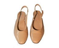 Ladies Beige Shoes Royalty Free Stock Images