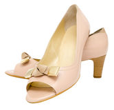 Ladies beige shoes Stock Photo