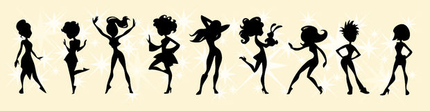 Ladies in black. Collection of different female figures in black silhouette Royalty Free Stock Photography