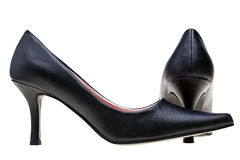 Ladies black high heels shoes isolated Royalty Free Stock Photo