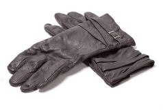 Ladies black leather gloves Stock Photography