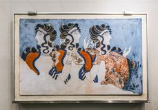 `Ladies in blue` fresco from Knossos Palace. The archaeological Museum in Heraklion, Crete Royalty Free Stock Photography