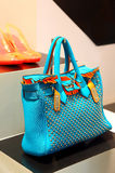 Ladies blue handbag Stock Images